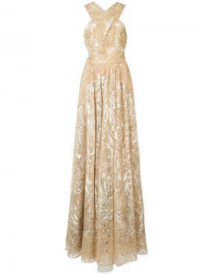 Платье с цветочной отделкой Marchesa Notte. Цвет: жёлтый и оранжевый