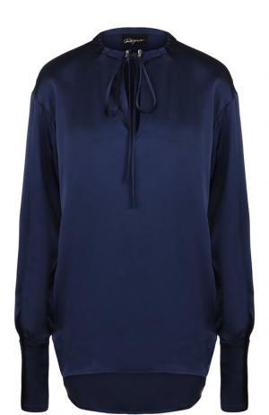 Однотонная удлиненная блуза из вискозы Roque. Цвет: темно-синий
