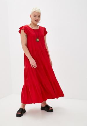 Платье и колье Hey Look. Цвет: красный