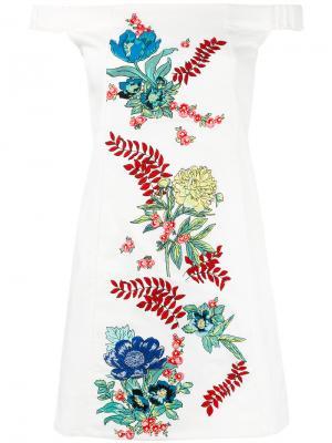 Платье с вышивкой и приспущенными плечами House Of Holland. Цвет: белый