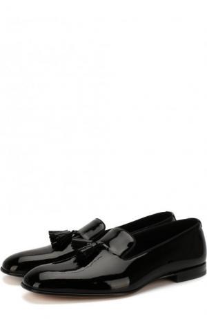 Лаковые слиперы с кисточками Tom Ford. Цвет: черный