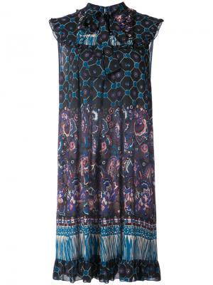 Расклешенное платье с узором пейсли Anna Sui. Цвет: чёрный