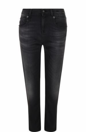 Укороченные джинсы прямого кроя с потертостями R13. Цвет: черный