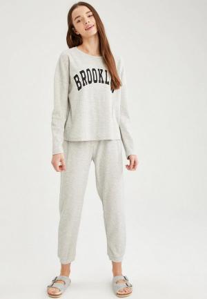 Пижама DeFacto. Цвет: серый