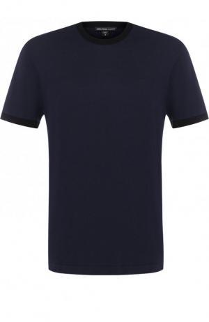 Хлопковая футболка с круглым вырезом James Perse. Цвет: темно-синий