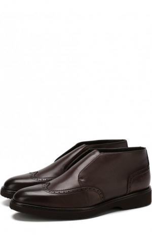Кожаные ботинки с брогированием и внутренней меховой отделкой Doucals Doucal's. Цвет: темно-коричневый