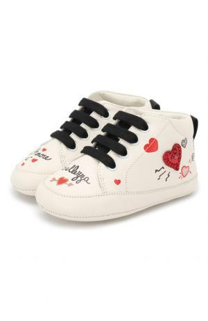 Кожаные пинетки на шнуровке Dolce & Gabbana. Цвет: белый