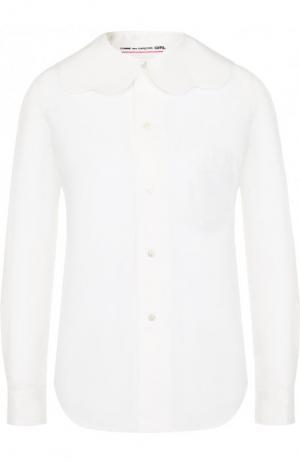 Однотонная хлопковая блуза свободного кроя Comme des Garcons GIRL. Цвет: белый