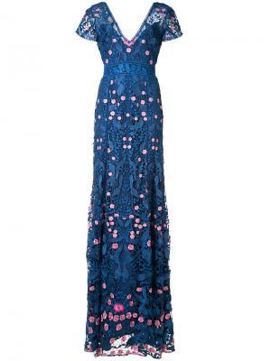 Вечернее платье с цветочной вышивкой Marchesa Notte. Цвет: синий
