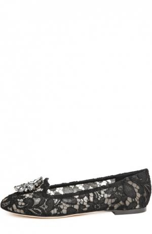 Кружевные слиперы Rainbow Lace с брошью Dolce & Gabbana. Цвет: черный
