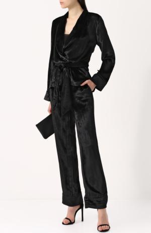 Бархатный костюм в пижамном стиле Equipment. Цвет: черный